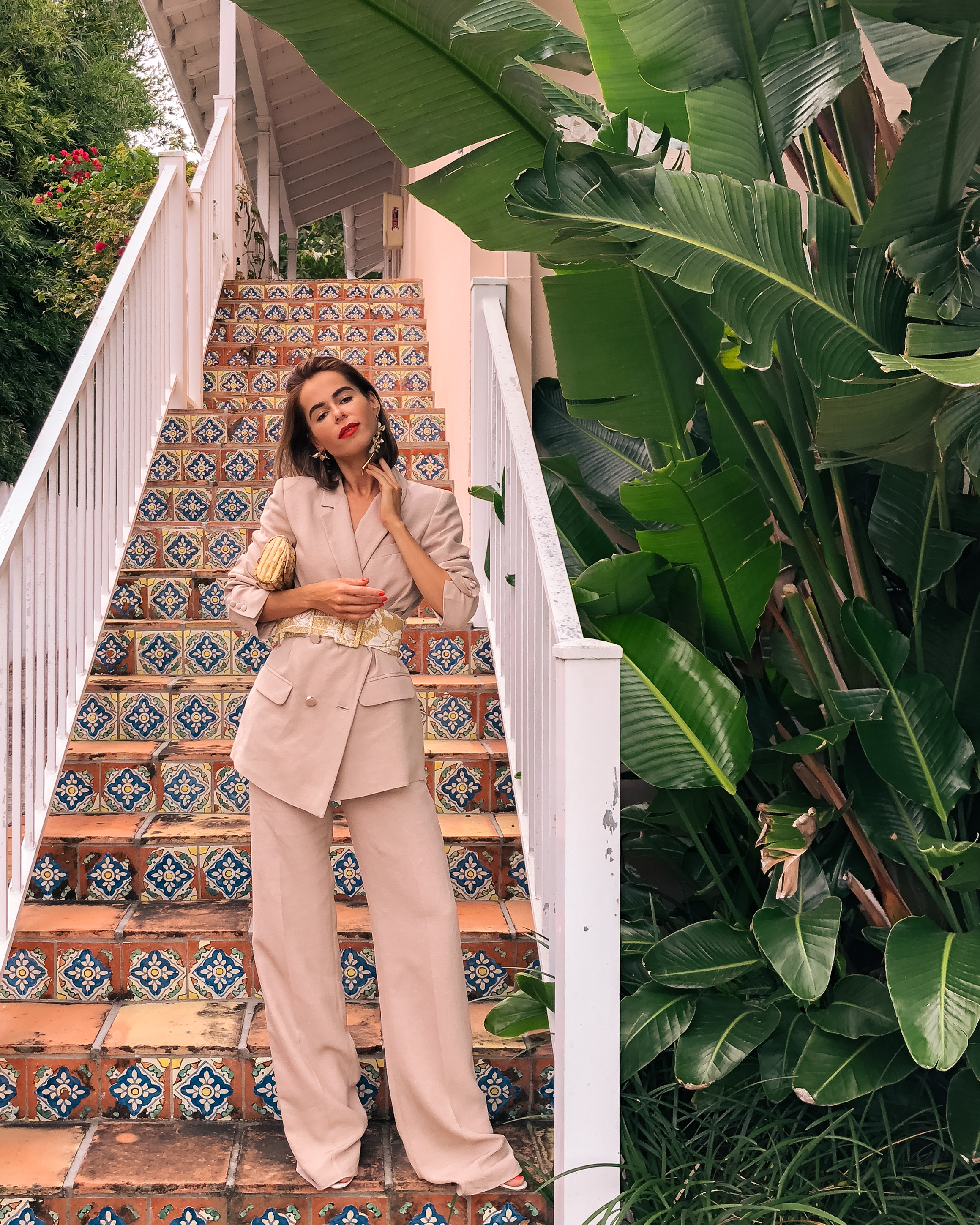 Style Blogger Stephanie Hill from The Style Bungalow wears an ootd featuring Sezane jacket and pants