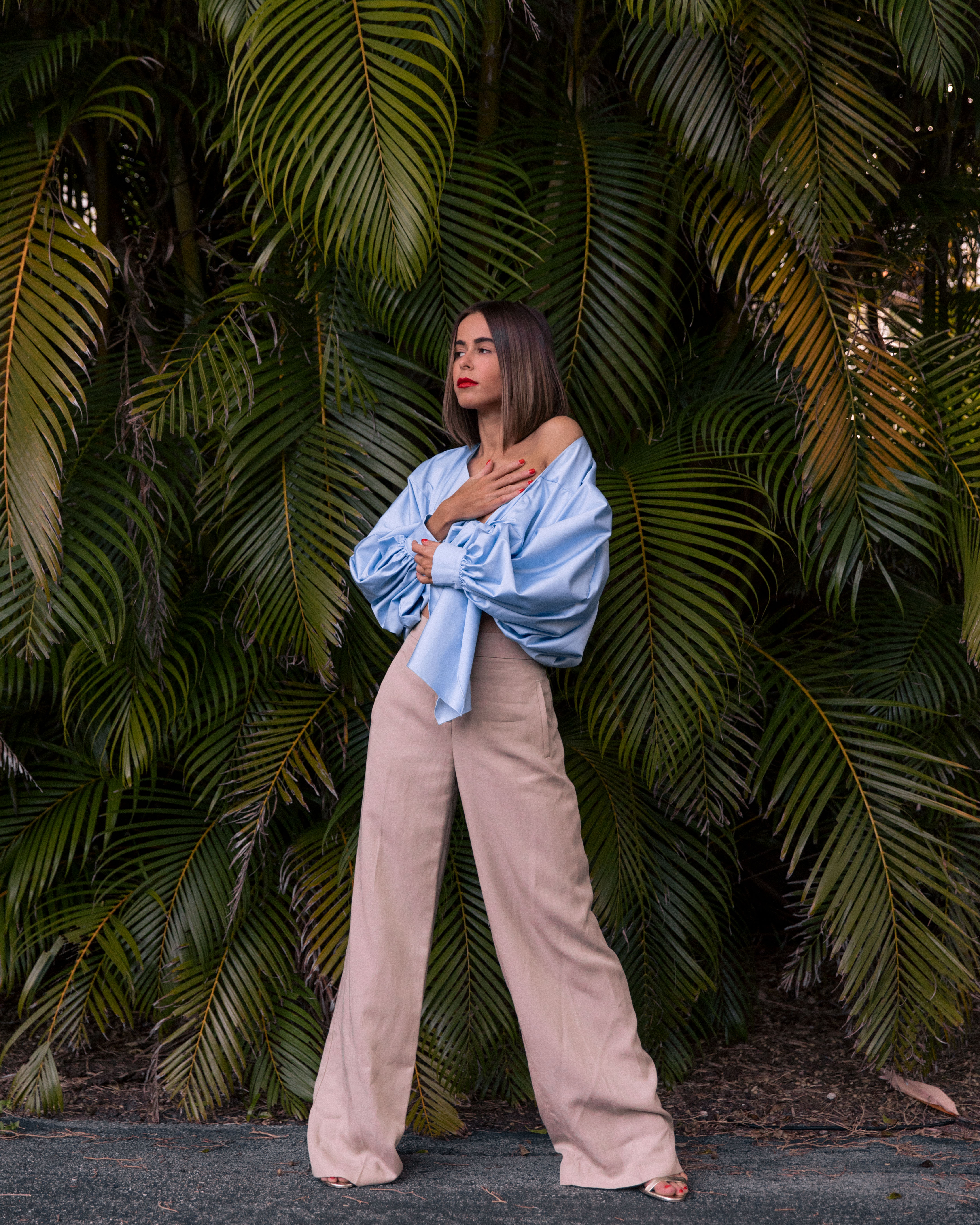 Wearing a blouse by Johanna Ortiz, Style Blogger Stephanie Hill from The Style Bungalow shares her top 5 muses this month