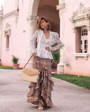 Style Blogger Stephanie Hill wears Patbo plaid skirt on The Style Bungalow