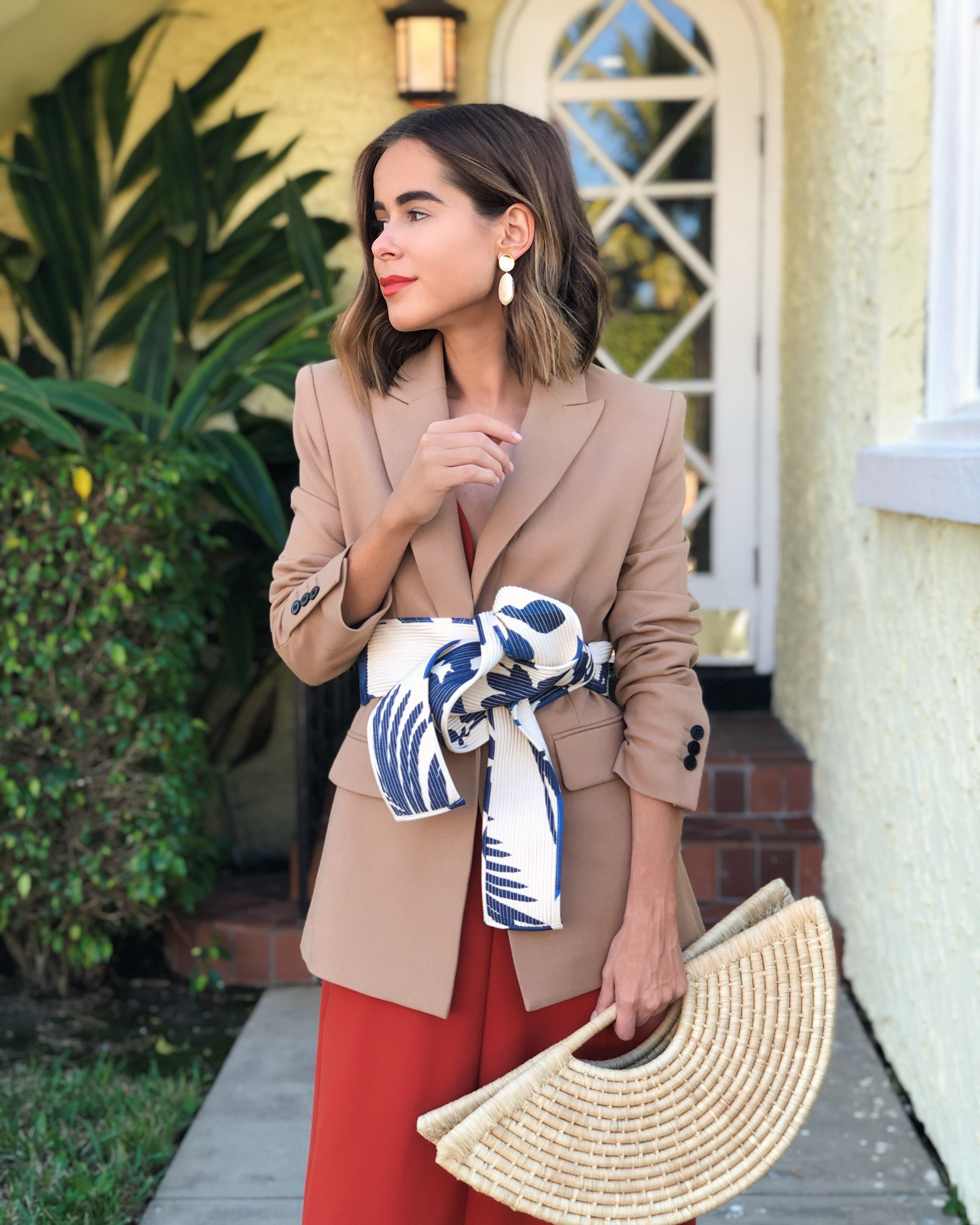Fashion Blogger Stephanie Hill wears ootd featuring A.L.C dress, Maje blazer, Johanna Ortiz belt and more