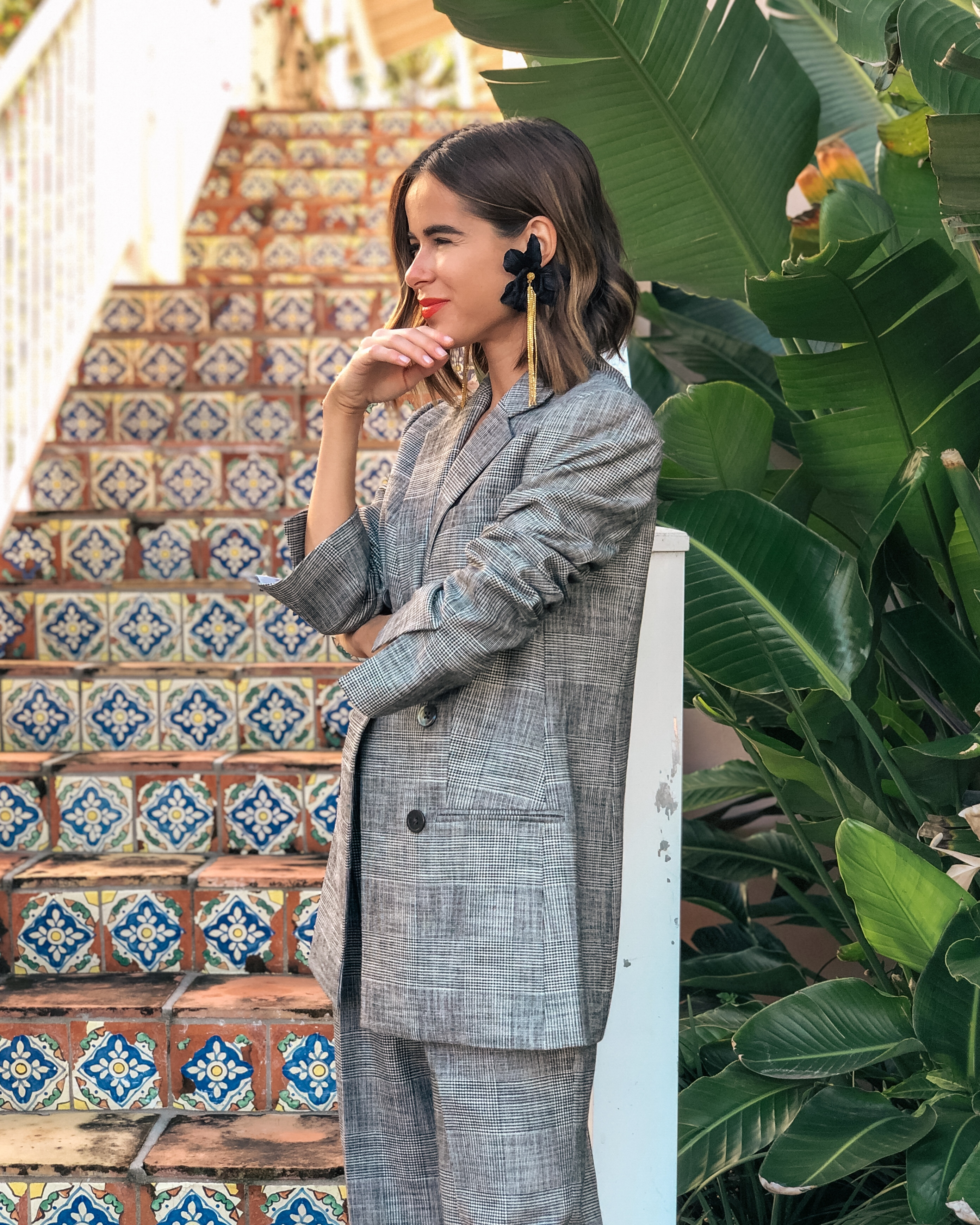 Style Blogger Stephanie Hill wears an ootd featuring Rebecca Taylor blazer and pants on The Style Bungalow