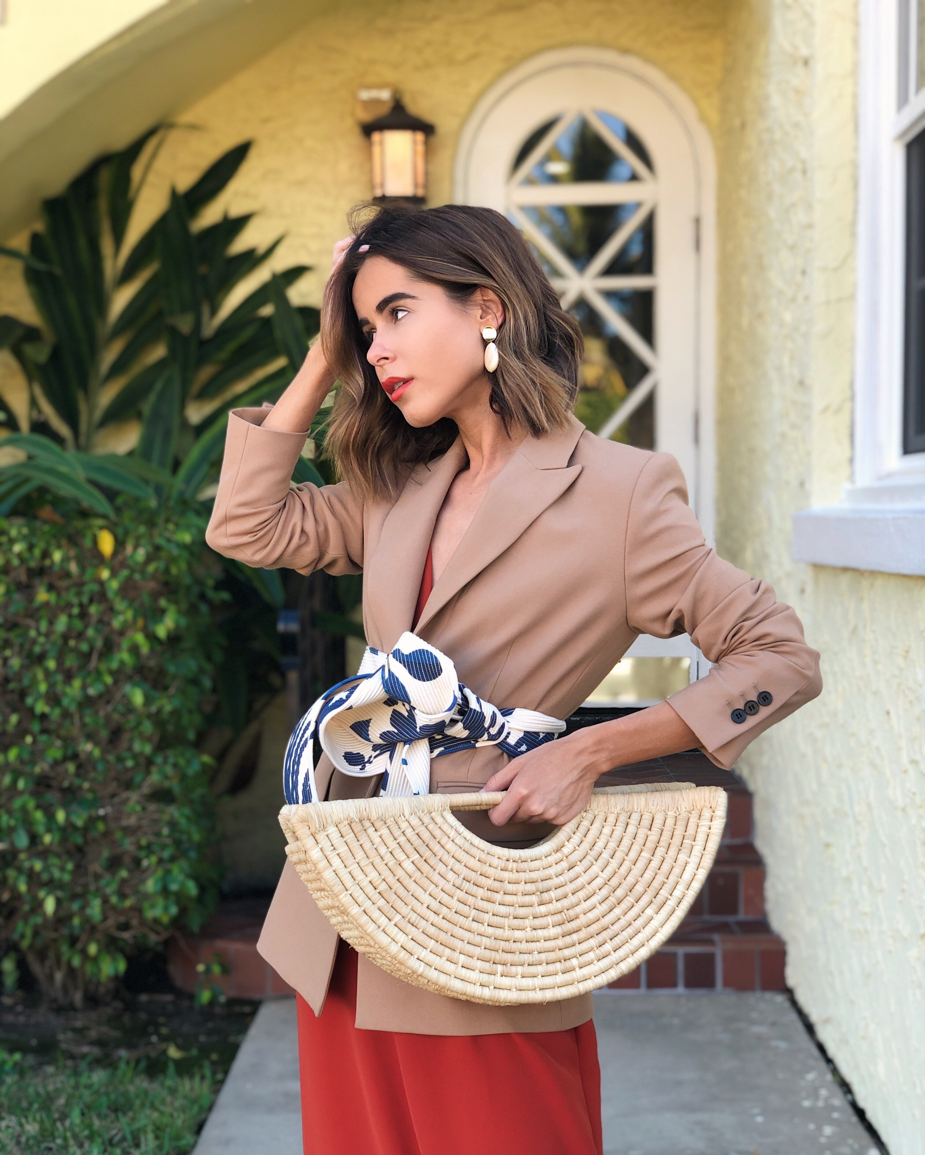 Stephanie Hill at The Style Bungalow wears ootd featuring A.L.C dress, Maje blazer, Johanna Ortiz belt and more