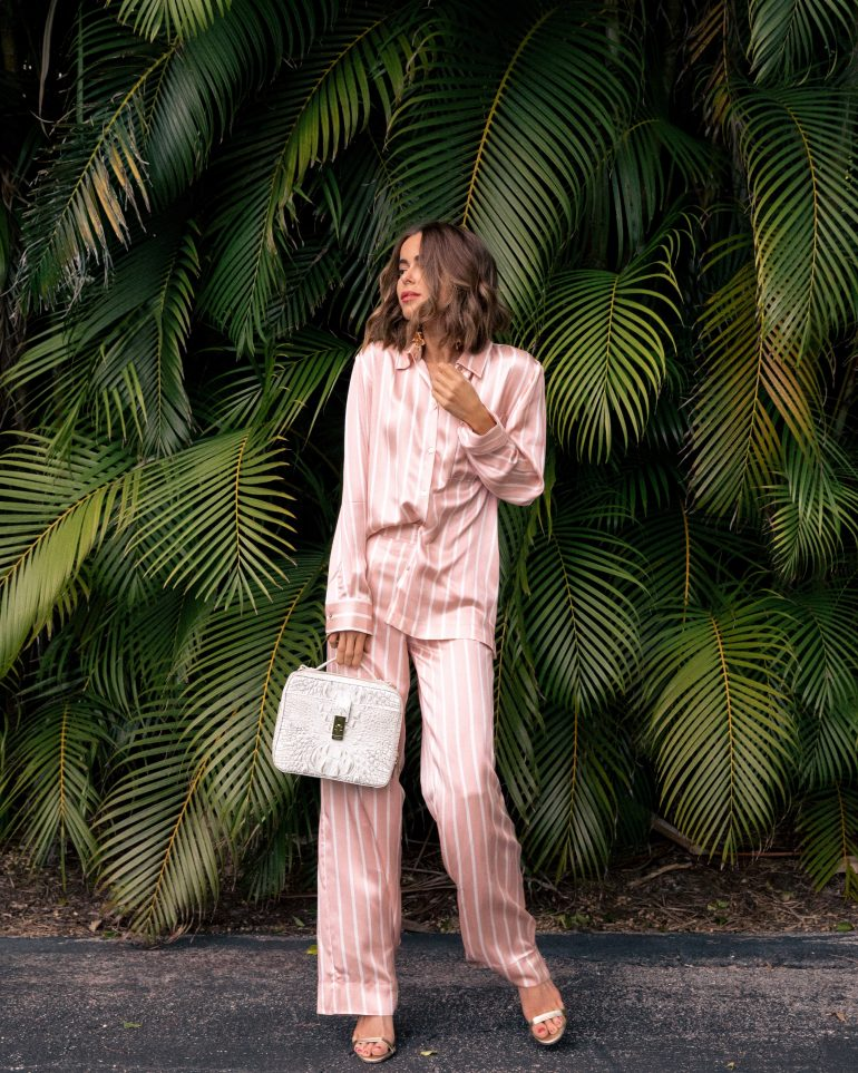 Stephanie Hill wears ootd featuring Asceno pants and blouse and Brahmin bag