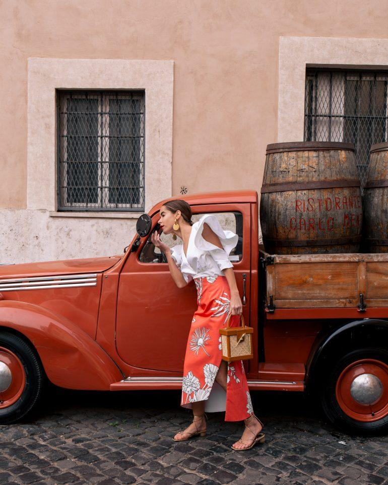 Stephanie Hill wears ootd featuring Silvia Tcherrasi in Rome Italy