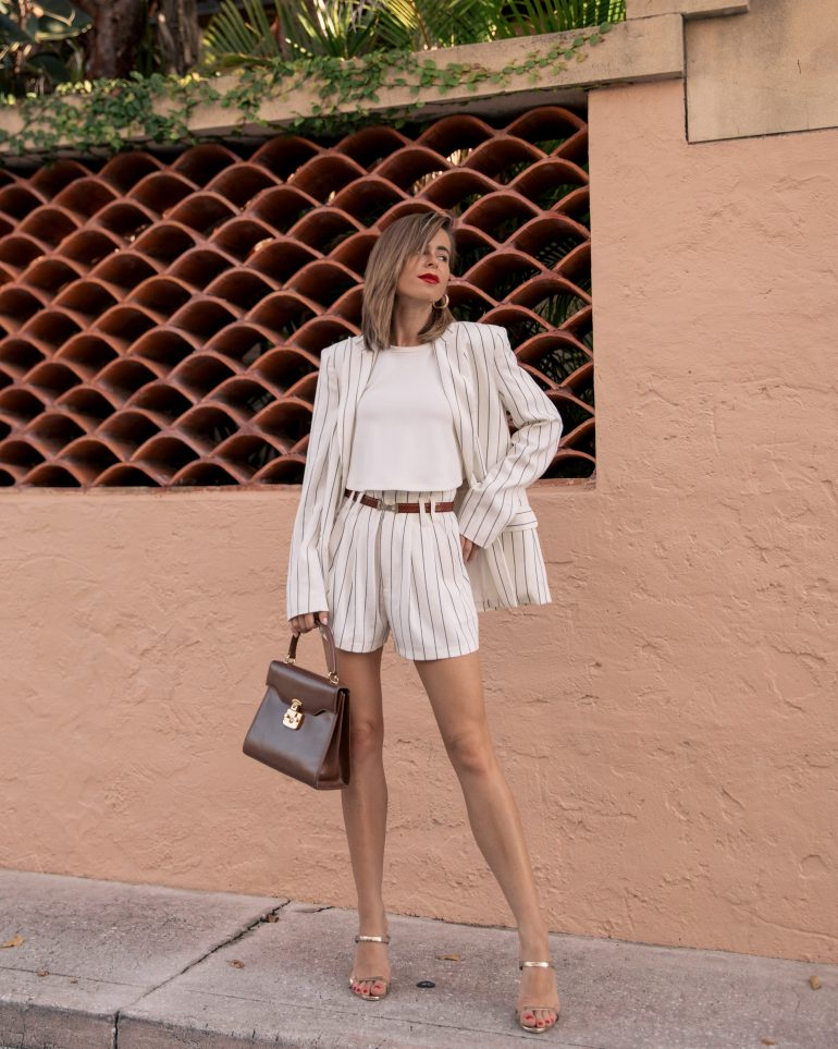 Stephanie Hill from The Style Bungalow wears ootd featuring 7 For All Mankind white stripe suit