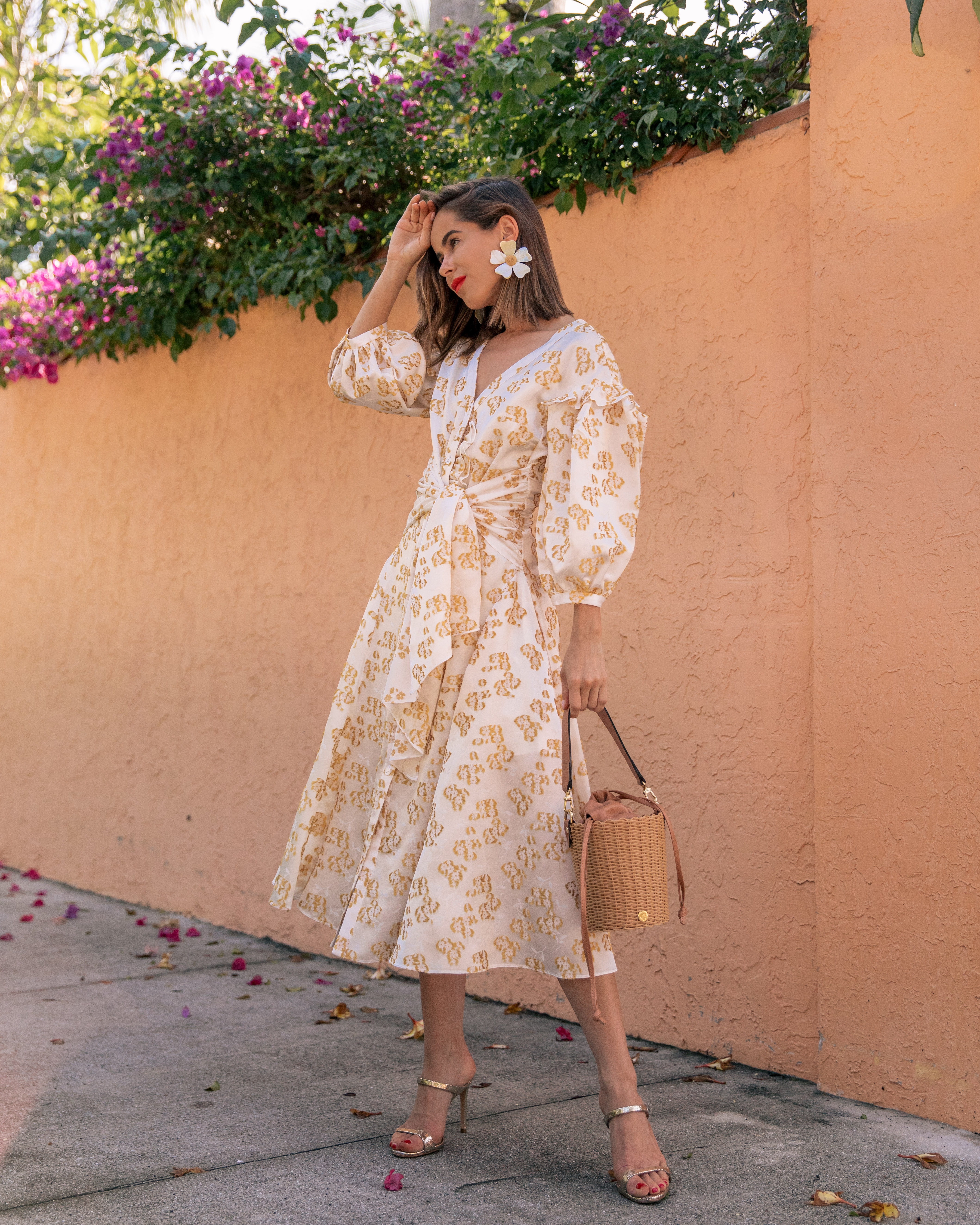 Stephanie Hill from The Style Bungalow wears ootd featuring Audra Yellow Dress