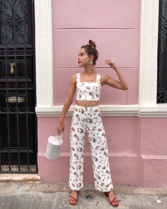 Stephanie Hill from The Style Bungalow wears ootd featuring Reformation top and pants