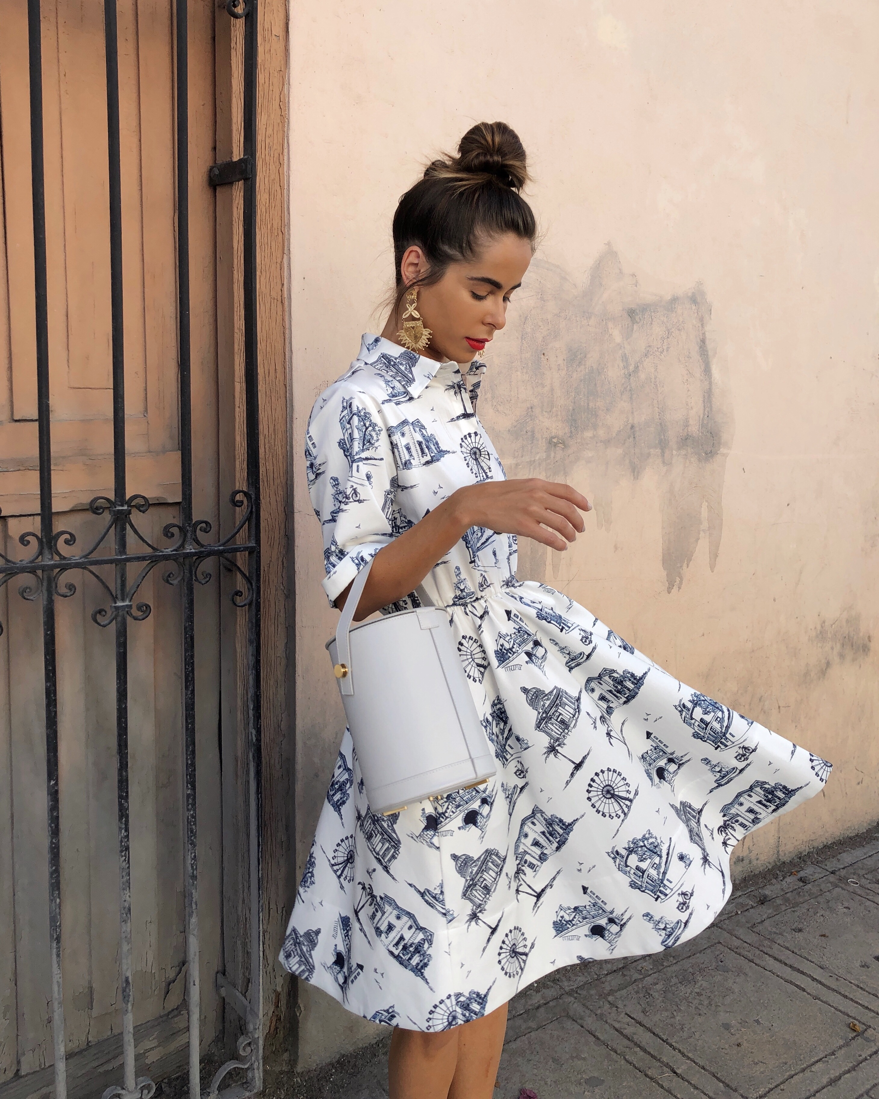 Style Blogger Stephanie Hill from The Style Bungalow wears ootd featuring Maje dress
