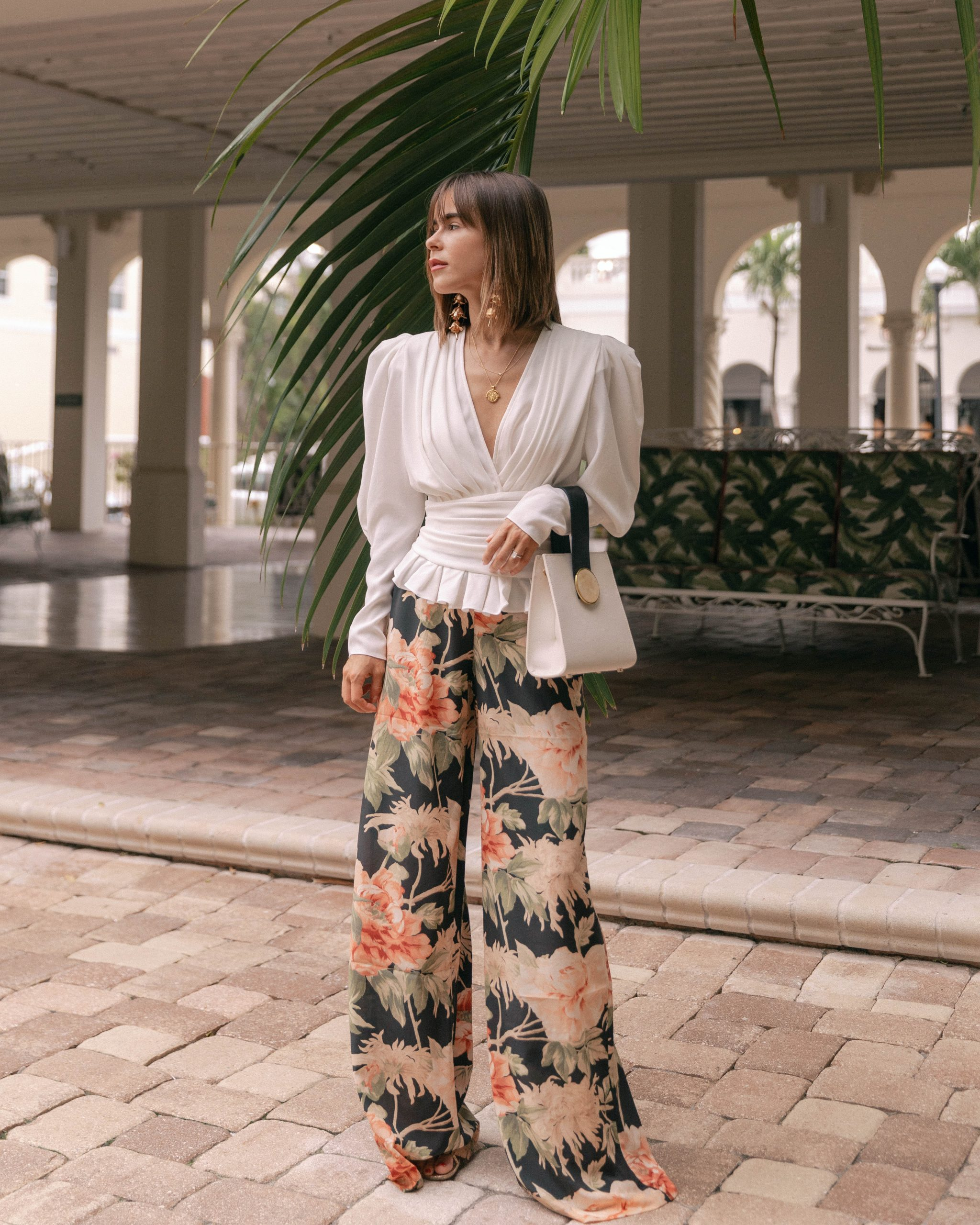 Stephanie Hill wears #ootd featuring floral Zimmermann pants on The Style Bungalow