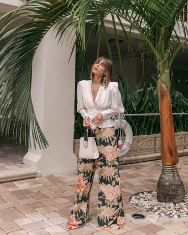 Style Blogger Stephanie Hill wears #ootd featuring floral Zimmermann pants on The Style Bungalow