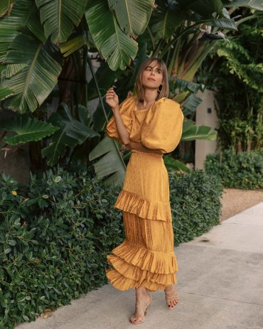 Stephanie Hill wears #ootd featuring Johanna Ortiz dress on The Style Bungalow