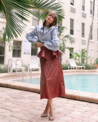 Fashion Blogger Stephanie Hill wears #ootd featuring Johanna Ortiz skirt on The Style Bungalow