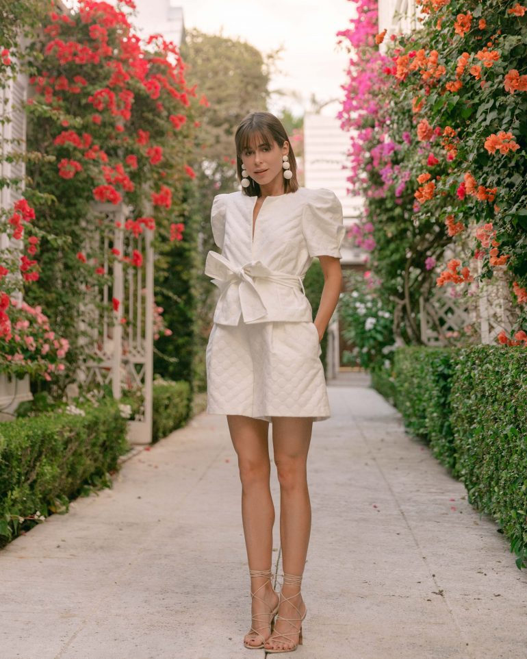 Stephanie Hill wears #ootd featuring Monique Lhuillier on The Style Bungalow