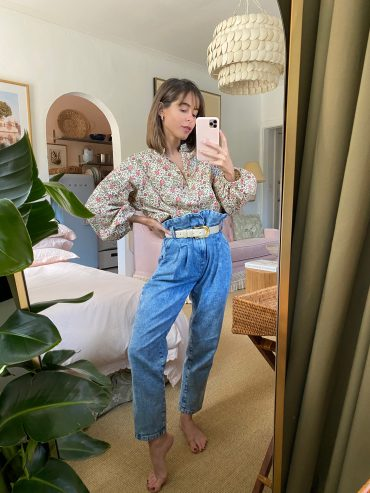 Style Blogger Stephanie Hill wears #ootd featuring Sezane jeans on The Style Bungalow
