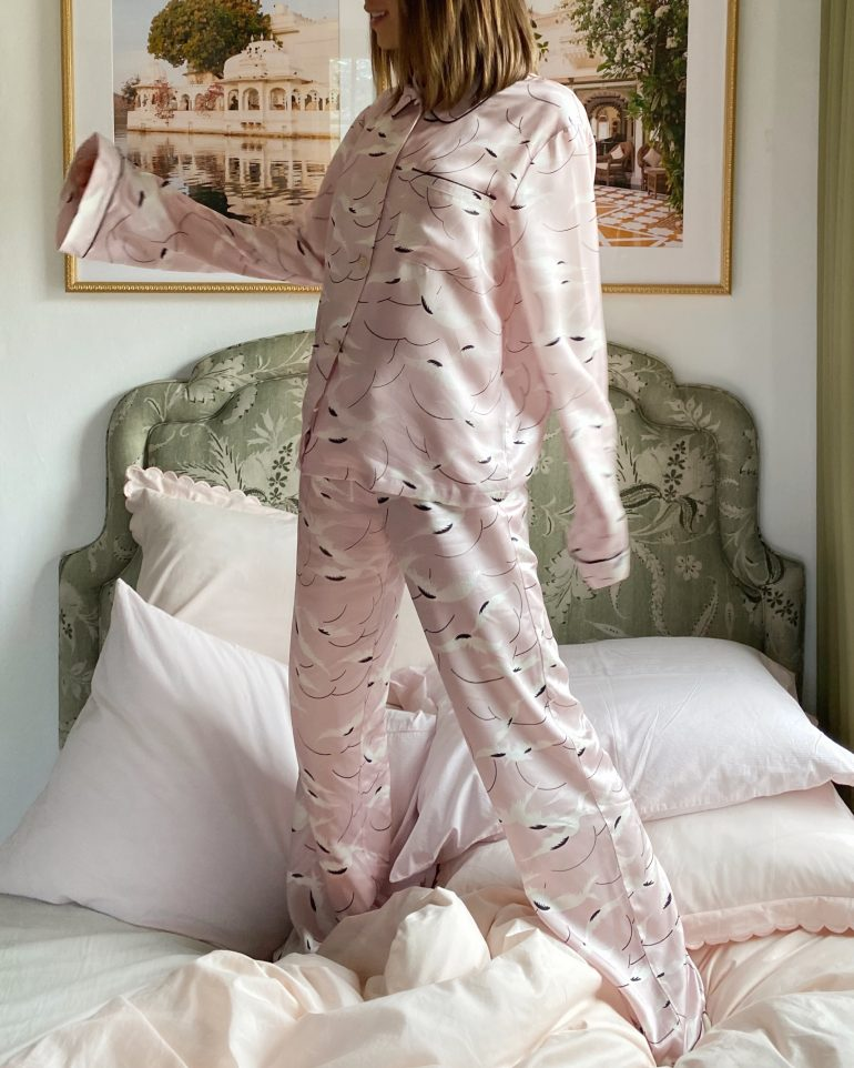 Stephanie Hill wears #ootd featuring Morgan Lane pajamas on The Style Bungalow