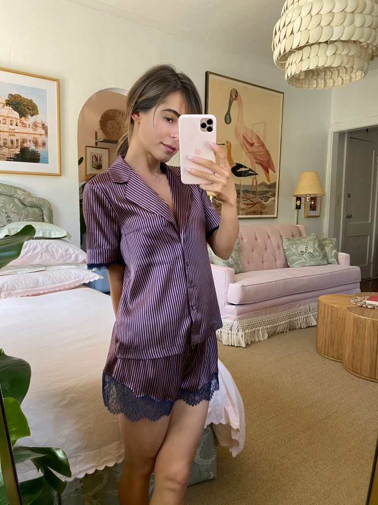 Lifestyle Blogger Stephanie Hill wears #ootd featuring Cami NYC pajama set on The Style Bungalow