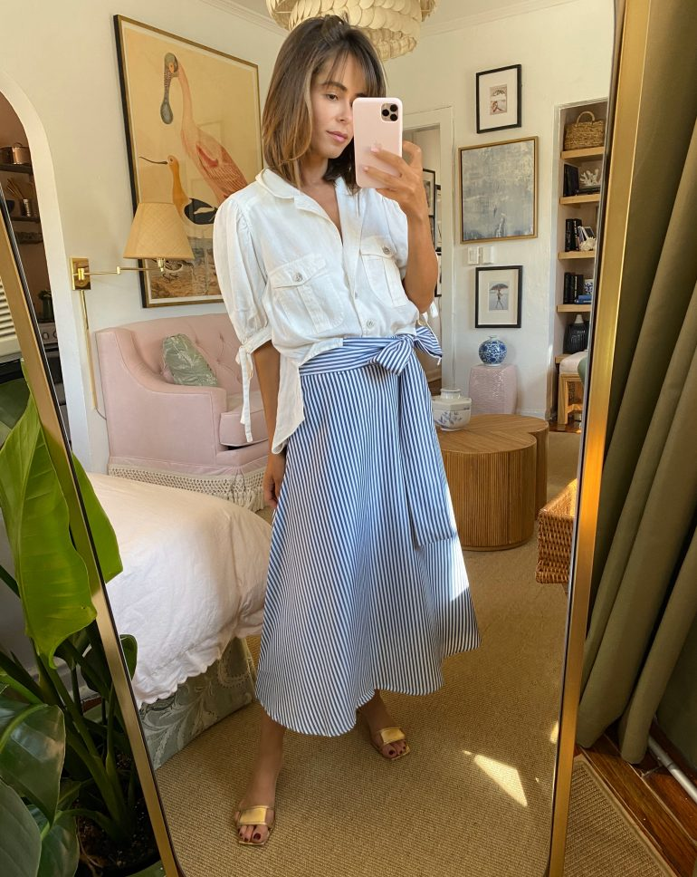 Stephanie Hill wears #ootd featuring a Free People blouse on The Style Bungalow
