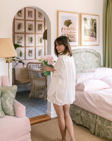 Stephanie Hill wears #ootd featuring Sleeper pajamas on The Style Bungalow