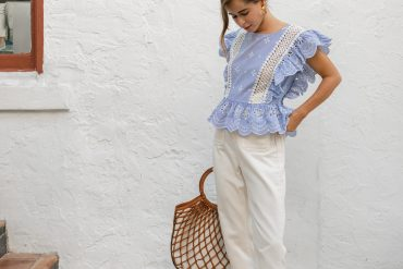 Fashion Blogger Stephanie Hill wears #ootd featuring a BB Dakota blouse on The Style Bungalow
