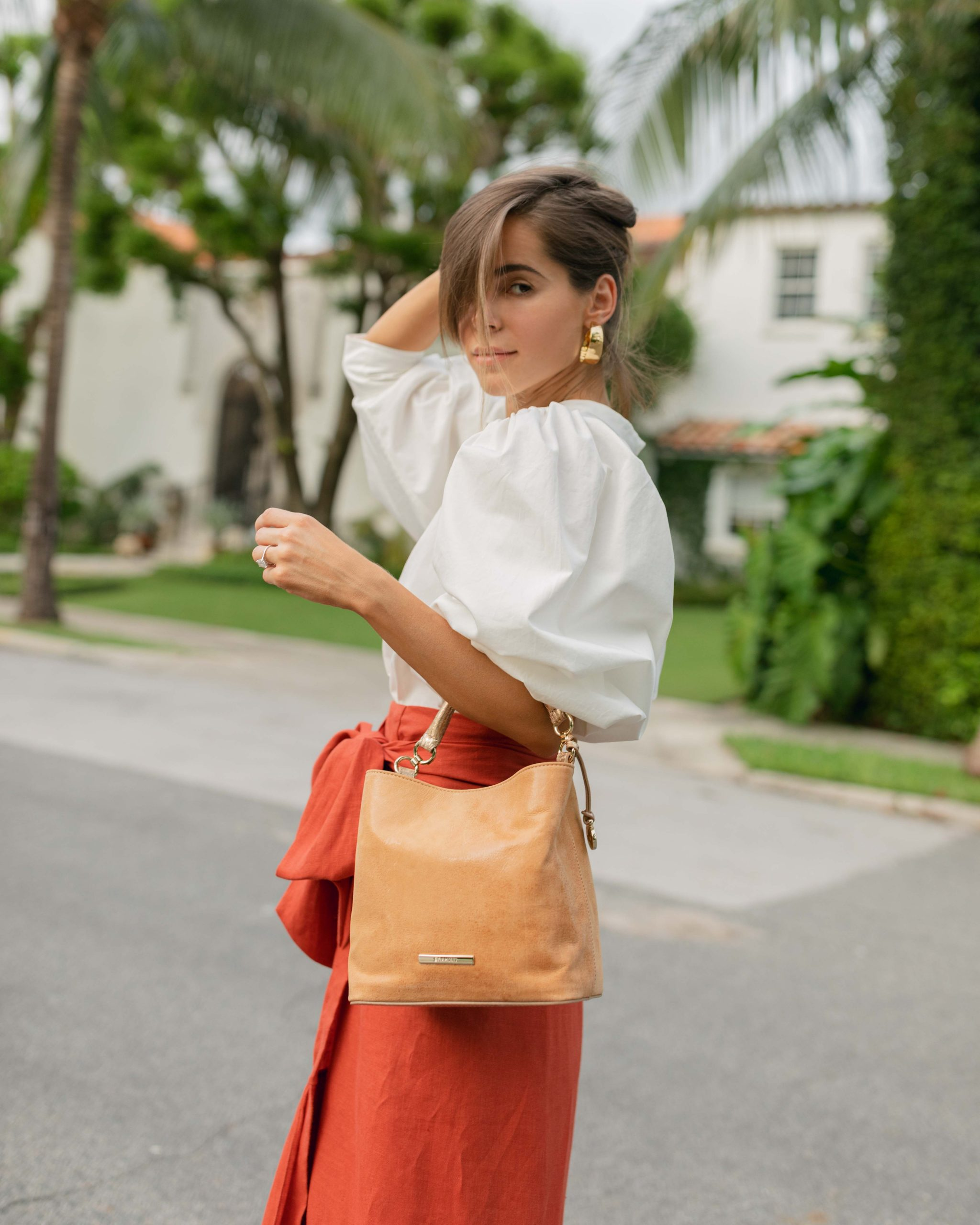 Lifestyle Blogger Stephanie Hill wears #ootd featuring Johanna Ortiz midi skirt on The Style Bungalow