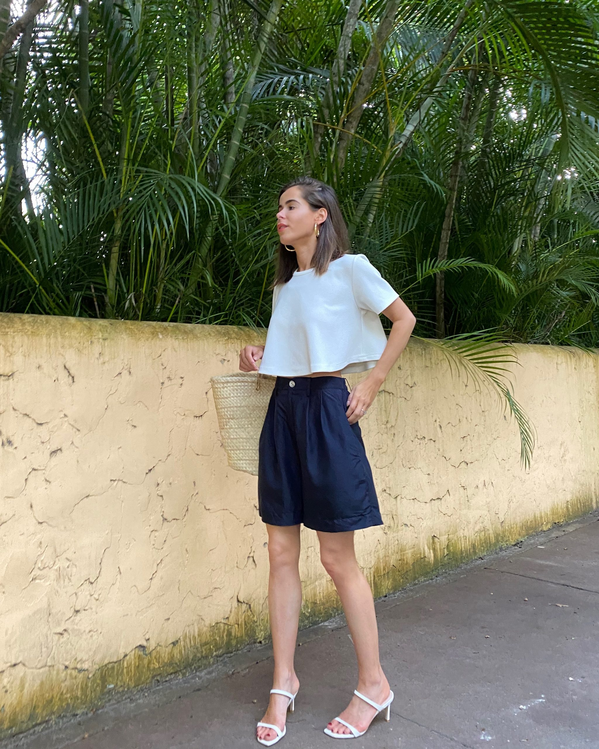 Stephanie Hill wears a Ronny Kobo top on The Style Bungalow