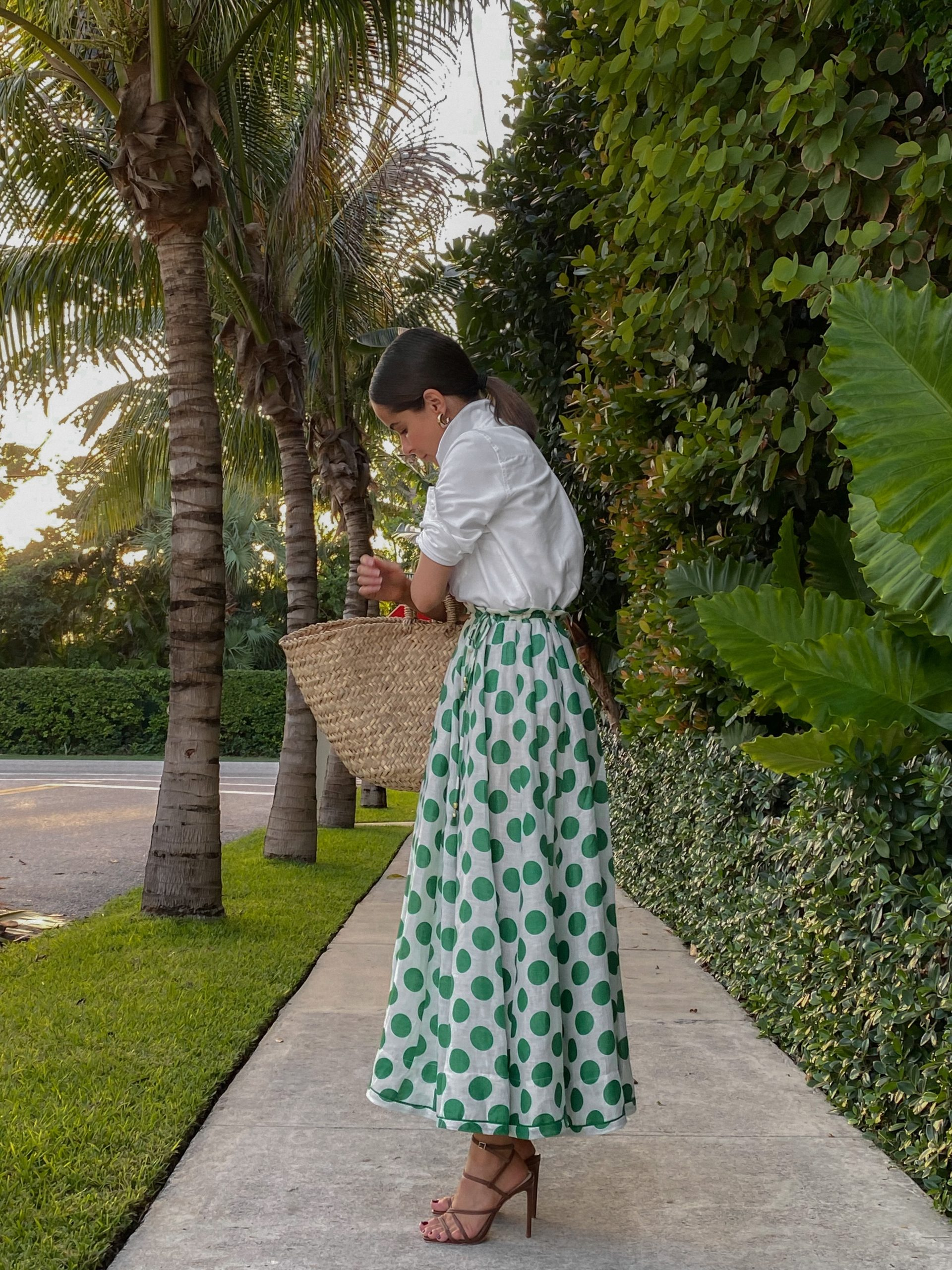 Stephanie Hill wears #ootd featuring a Zimmermann midi skirt on The Style Bungalow